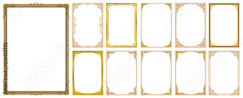 Set of Decorative vintage frames and borders set,Gold photo frame with corner Thailand line floral for picture, Vector design decoration pattern style. border design is pattern Thai art style - 206465592