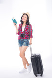 Woman travel. Young beautiful asian woman traveler with suitcase and camera on white background - 206466777