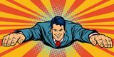 Joyful businessman flying, superhero - 206468971