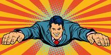 Joyful Businessman Flying Superhero Sticker