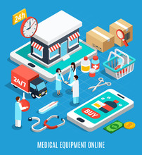Medical Equipment Isometric Concept Sticker