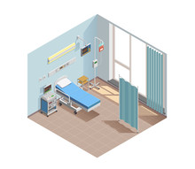 Resuscitation Room Isometric Composition Sticker