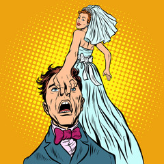 bride drags the groom with her