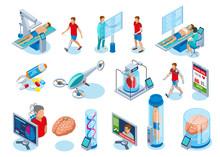 Futuristic Medical Equipment Icons Sticker