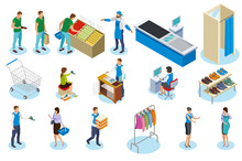 Shopping People Isometric Icons Sticker