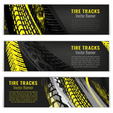 Tire track banners - 206474388