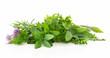 Leinwanddruck Bild - Fresh garden herbs isolated on white background