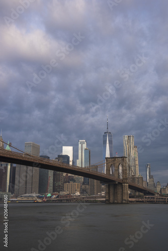 Aluminium Brooklyn Bridge Amazing morning sky over Manhattan skyline and Brooklyn Bridge in New York City