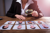 Businessperson Looking At Candidate's Photograph - 206486950