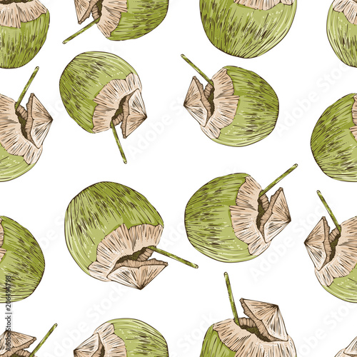 Cotton fabric Coconut seamless pattern, vector