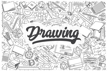 Hand drawn drawing vector doodle set.