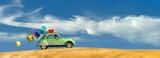driving car and beach