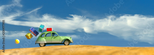 Fridge magnet  driving car and beach
