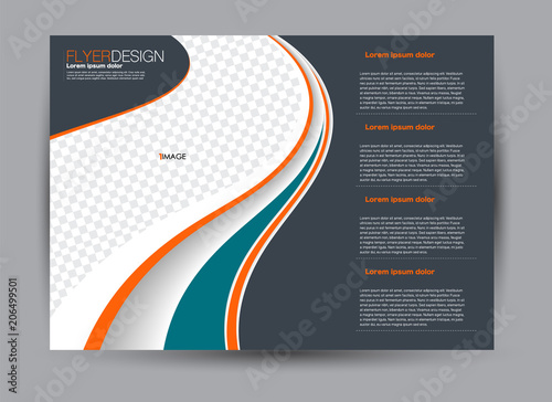 Fotobehang Donkergrijs Flyer, brochure, billboard template design landscape orientation for business, education, school, presentation, website. Green, orange, and grey color. Editable vector illustration.