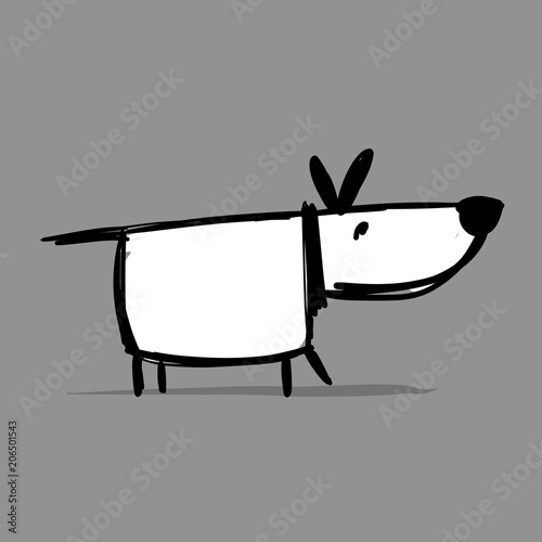 Funny dog, sketch for your design