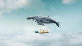 Travel concept. Whale floats in the air above the clouds carrying children in a yellow airplane. - 206508539