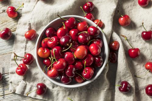 Leinwanddruck Bild Raw Red Organic Cherries
