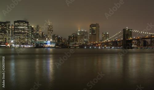 Aluminium Brooklyn Bridge New York, ponte di Brooklyn di sera