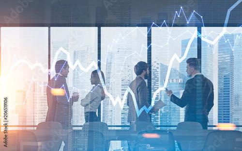 Business team brainstorming graph hologram city