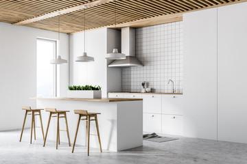 White modern kitchen interior, side view © denisismagilov