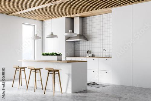 White modern kitchen interior, side view