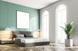 Leinwanddruck Bild - Green bedroom corner, frame poster