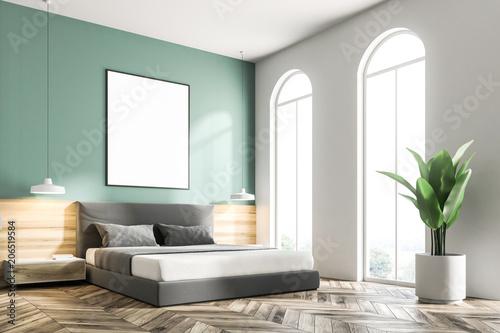 Leinwanddruck Bild Green bedroom corner, frame poster