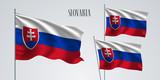 Slovakia waving flag set of vector illustration