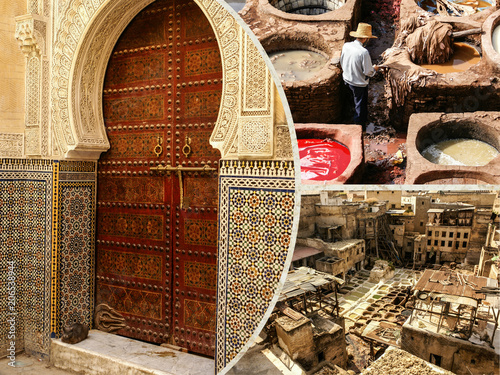 Aluminium Marokko Collage of Fes traditional processing leather tannery in Morocco