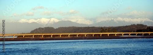 Aluminium Lichtblauw Hokitika Bridge and mountians