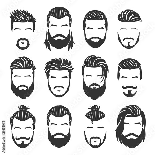 12 Set of vector bearded men faces with different haircuts and style pack