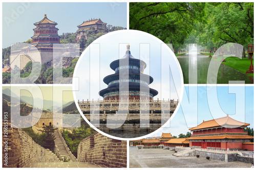 Fotobehang Peking Collage of tourist attractions in Beijing