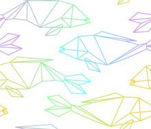 Seamless Colorful Linear  Polygon Fish Pattern Sticker