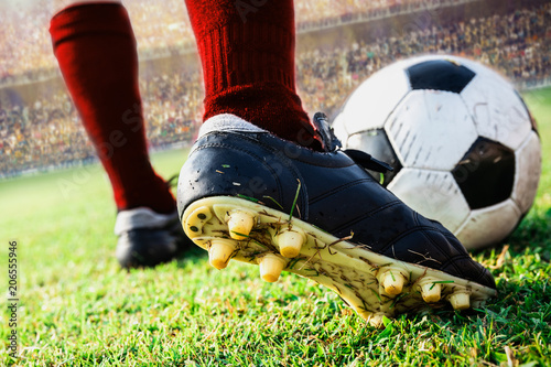 Fototapeta close up soccer football kick the ball