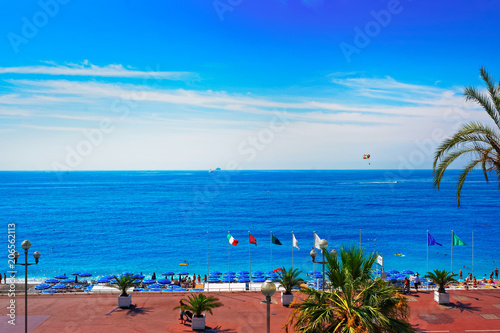 Aluminium Nice English promenade of Nice France summer