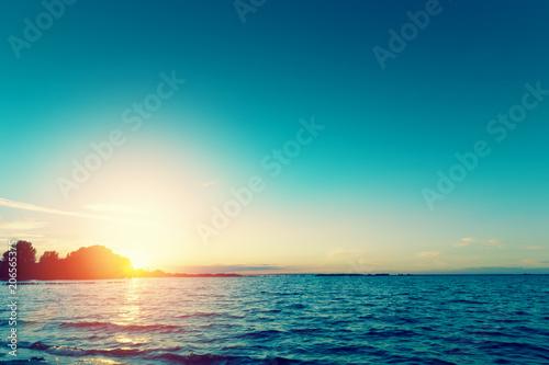 Foto Spatwand Zomer Sunset over river. Nature scenic landscape
