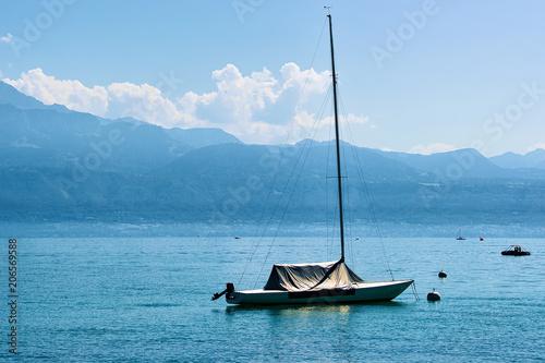Fotobehang Zeilen Motor boat on Lake Geneva summer Lausanne