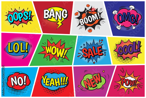 Pop art comic vector speech cartoon bubbles in popart style with humor text boom or bang bubbling expression asrtistic comics shapes set isolated on background illustration © creativeteam
