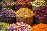 Closeup of fragrant oriental spices at spice market in Middle East - 206574373