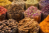 Closeup of fragrant oriental spices at spice market in Middle East - 206574398