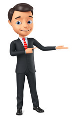 3d rendering. Cheerful businessman points to an empty palm on a white background. © 3dddcharacter