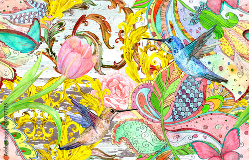 vintage seamless texture with bizarre ornament and hummingbirds. watercolor painting - 206577726