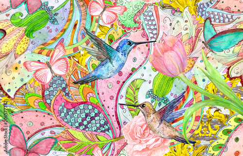 bohemian seamless texture with bizarre ornament and hummingbirds. watercolor painting