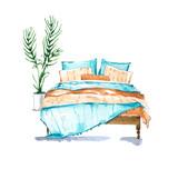 Bedroom, watercolour illustration - 206581579