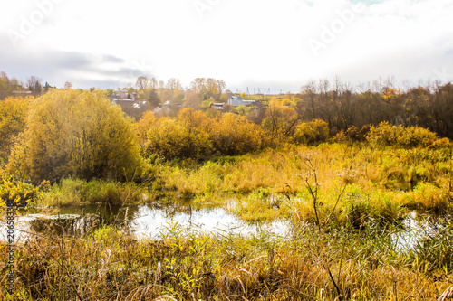 Canvas Honing autumn landscape, blue sky,yellow the forest and the lake