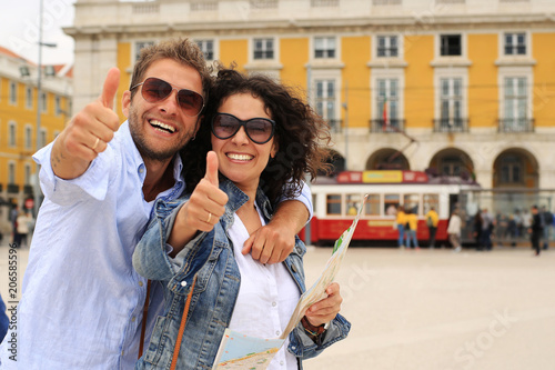Young couple of tourists on holiday in Europe in Lisbon