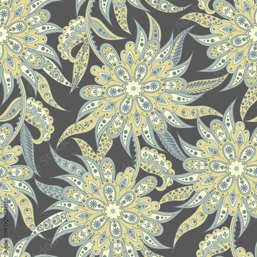 Floral seamless pattern. Folkloric Batik vector ornament. - 206586588