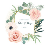 Floral frame with anemone, rose and eucalyptus. For wedding, Valentine's day, Birthday. Vector illustration. Watercolor style - 206588565