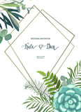 Greenery floral frame with leaves, succulent plant, branches and cactus. Perfect for wedding, frame, pattern,greeting card, invitations, lettering. Watercolor style. Vector illustration - 206588592