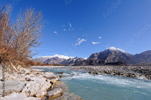 Fotobehang Bergrivier Mountain landscape with river.